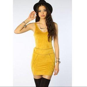 Size M (4-6) Ladakh Yellow Suede Dress